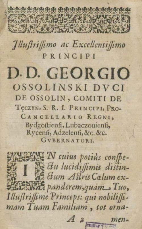 Дэдыкацыя D. D. Georgio Ossolinski (Jerzemu Ossolińskiemu)