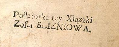 Пячатка Xiąszki Zofia Slizniowa