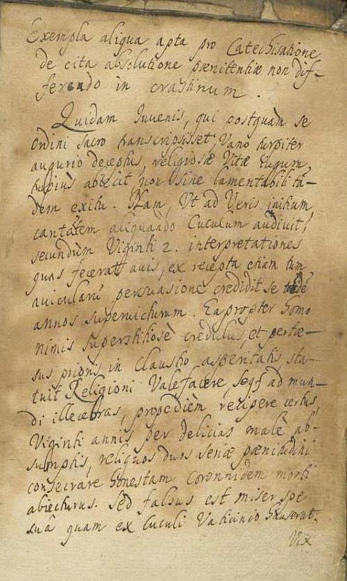 Exempla aligua apta pro Cate[…]. У канцы кнігі рукапісны тэкст