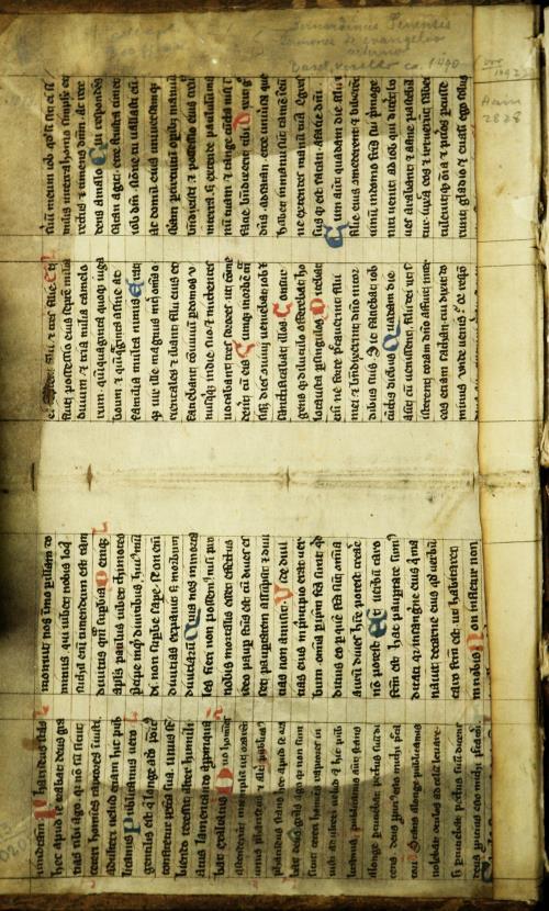 Форзац. Разварот з рукапісу XV ст. на пергаміне з каментаром на кнiгу Iова