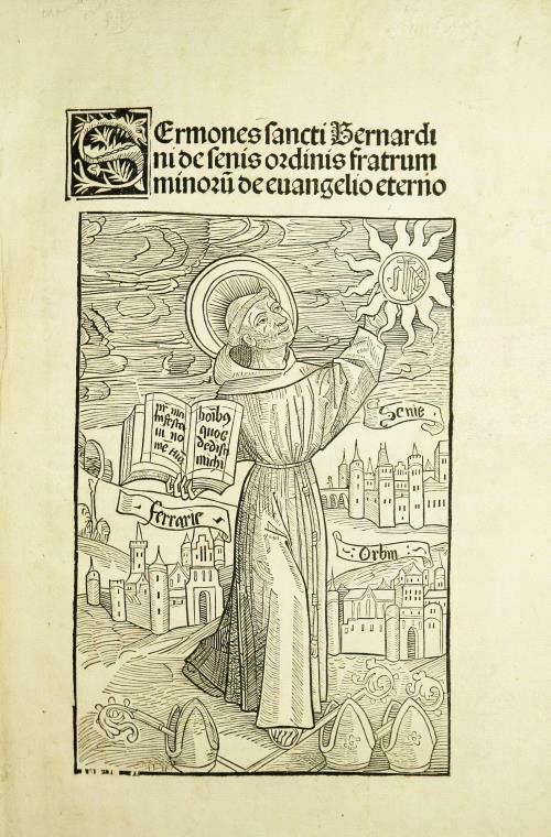 """Выява святога Бернарда, якi ў адной руцэ трымае Евангелле, а ў другой - сонца, ў цэнтры якога  манаграма """"IHS"""""""
