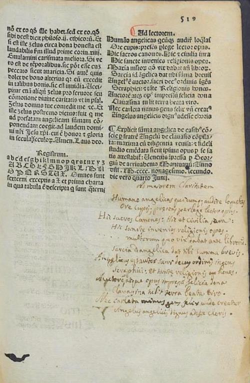 """Верш на лацінскай мове: """"Ad majorem Claritatem..."""" (с. 519)"""