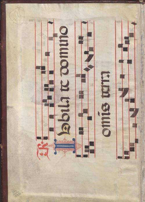 Фрагмент нотнага рукапісу на пергаміне чатырохлінейнай натацыi на форзацах