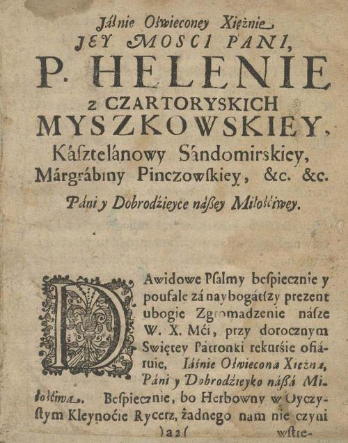 Прысвячэнне: …Helenie z Czartoryskich Myszkowskiey